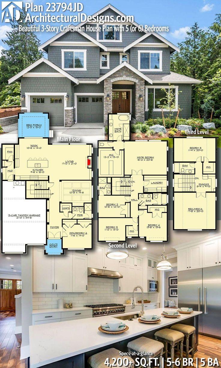 Plan 23794jd Beautiful 3 Story Craftsman House Plan With 5 Or 6 Bedrooms In 2020 Craftsman House Plans Craftsman House Plan House Blueprints