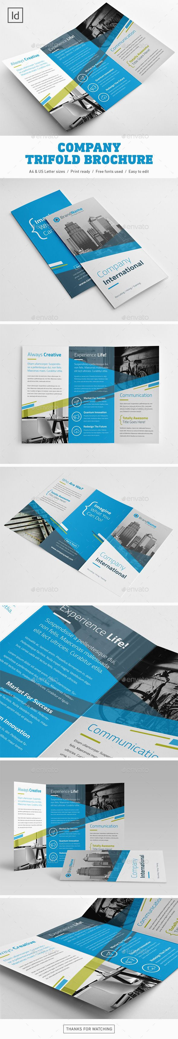 Company Trifold Brochure Design Template - Brochures Print Template InDesign IND...
