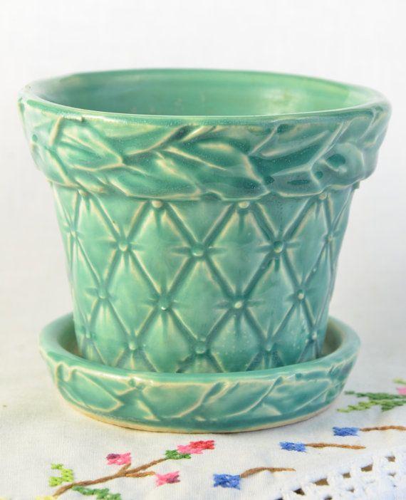 Small blue McCoy planter flower pot by VieuxCharmes on Etsy