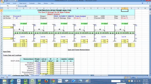FRAME ANALYSIS-Mi propio programa de hoja de cálculo