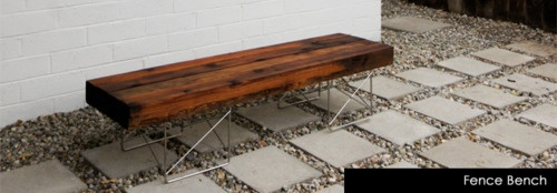 DIY Bench from reclaimed fence wood.     source: thebrickhouse.com