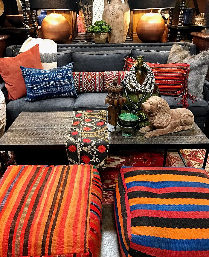 Nice Big Moroccan Kilim Poofs   Love Them Pulled Up To This Rustic Coffee Table  Tierra Del Lagarto   Scottsdale Furniture Store