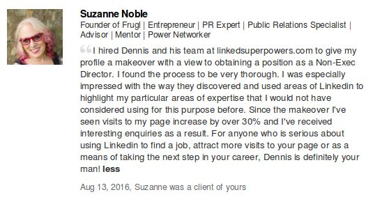LinkedSuperPowers is truly honored to have worked with Suzanne Noble towards the Professional Makeover of her Personal LinkedIn Profile!