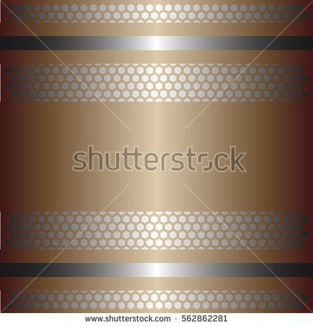 Shiny gold metal with silver background.Two glossy silver lines.Gold plate with hexagon holes style design .