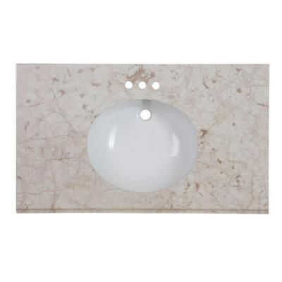 Home Decorators Collection 37 in. Stone Effects Vanity Top in Dune with White Basin-SEOST37COM-DN - The Home Depot