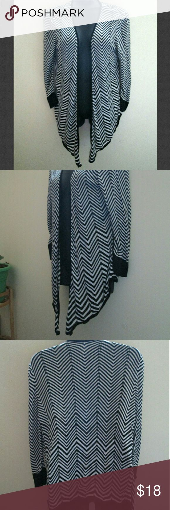 White House Black Market Open Front Chevron Top Excellent condition - no holes, stains or rips. Lightweight, soft fabric. 100% rayon. Comes from a smoke free home.  No trades. No holds. White House Black Market Tops Blouses