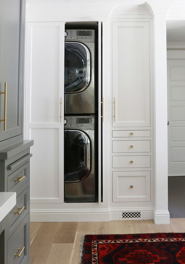 Built Ins For The Practical But Ugly Washer And Dryer