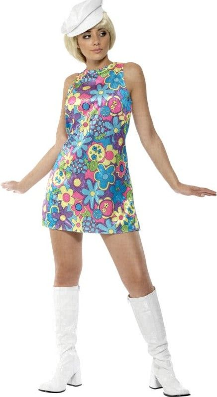1960 S Sex Bomb Costume Retro Girl Outfit Blue Flower