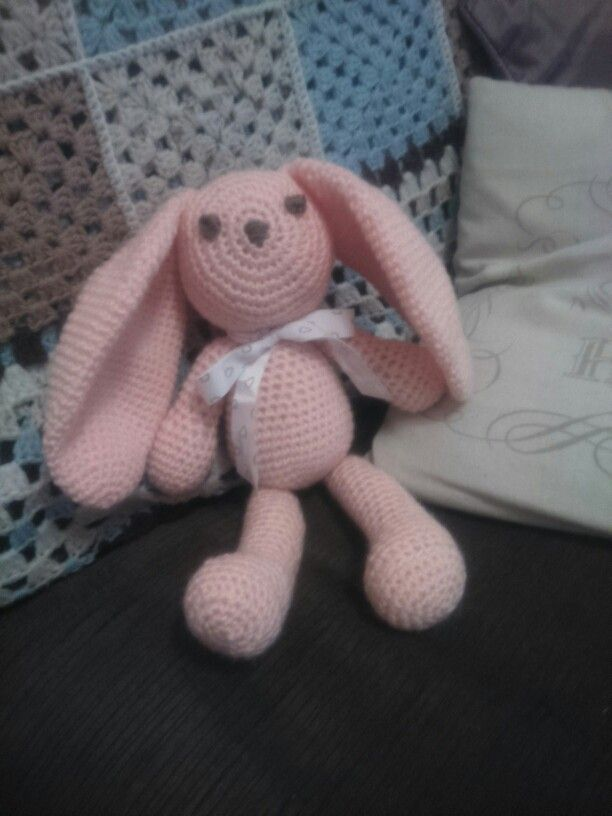 Another one of my crochet creations  meet pinky bun bun all ready for a customer