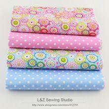 2015 nuevo 4 unids/lote 40 cm x 50 cm puntos florales de tela de algodón patrones bundle quilting patchwork coser ropa de cama tissus tilda(China (Mainland))