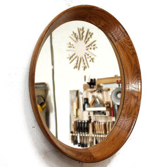 Round Mirror Round Oak Wall Mirror Oak Wood Mirror Frame With Dark