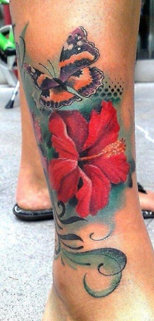 Papillon et fleur d 39 hibiscus tatou sur la jambe tatouage fleur pinterest hibiscus les - Tatouage fleur d hibiscus ...