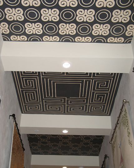 Graphic patterns we painted in our hallway here at Modello Designs using a variety of Modello® masking stencils and simple black and cream color scheme. Click the pic for more!