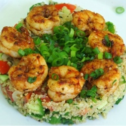 Quinoa Tabbouleh and Blackened Shrimp by monica