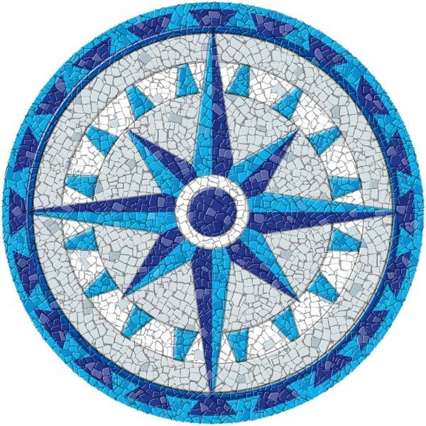 Entrancing Drop in Pool Mosaics with Compass Mosaic Designs on Medallion Tile Patterns