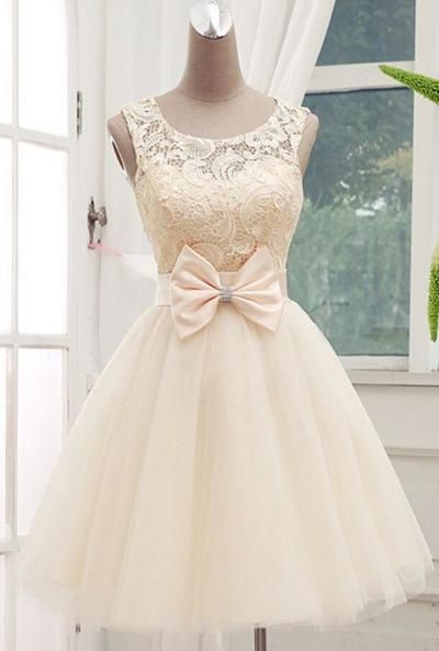 2016 Lace Tulle Homecoming Dresses,Cute Evening Dresses,Lace Cocktail Dresses,Pure Bowknot 2016 Popular…