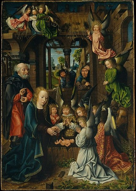 The Adoration of the Christ Child -- Circa 1496-1502 -- Workshop of the Master of Frankfurt -- Netherlandish -- Oil on oak panel -- The Metropolitan Museum of Art