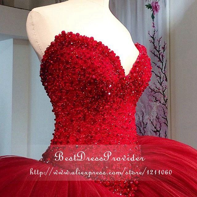 Stunning Abito di Sfera Abiti Da Ballo Arabo 2016 Scollo a cuore Bordato il Breve Posteriore Lungo Anteriore Puffy Lungo Red Prom Dress