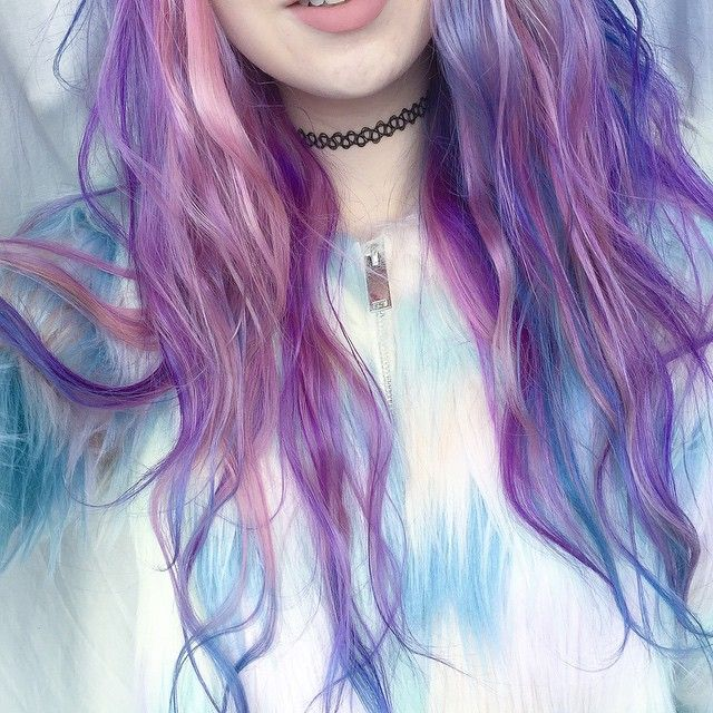 Dyed Hair Pastel Blue and Violet
