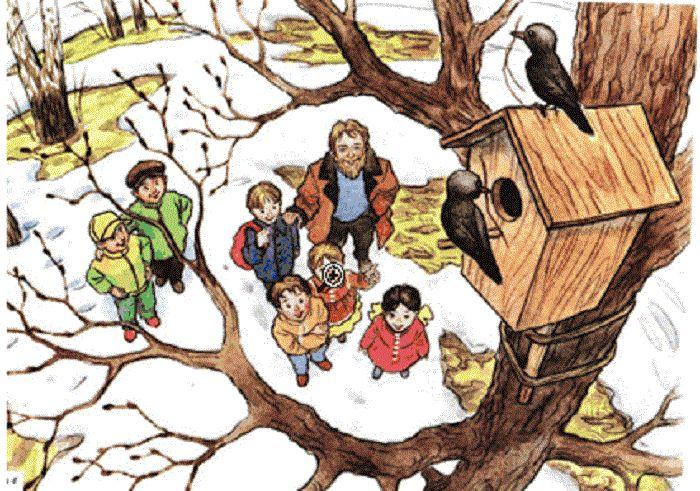 Картинка для детей скворцы прилетели