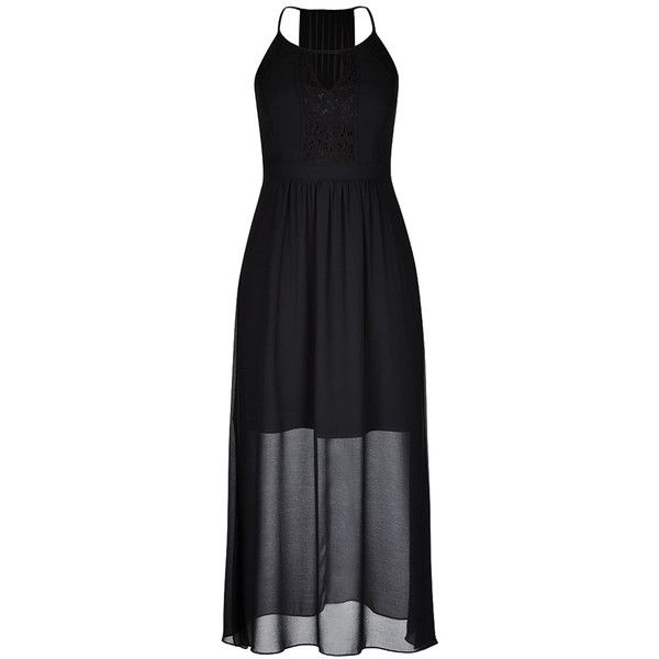 City Chic Sweet Affair Maxi Dress (135 CAD) ❤ liked on Polyvore featuring dresses, chiffon maxi dress, racerback maxi dress, halter neck maxi dress, racerback dress and maxi dresses
