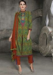 Casual Wear Cotton Green Printed Churidar Suit