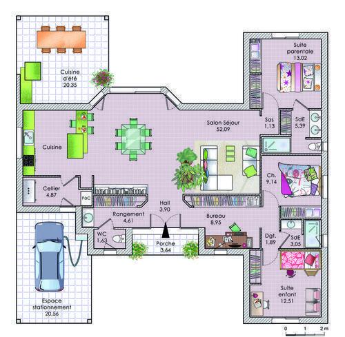 resultado de imagen de maison plain pied en h - Plan Maison Ideale Feng Shui