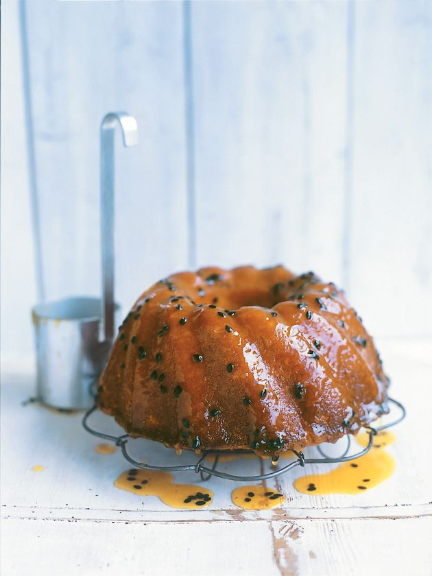 ... yoghurt and passionfruit syrup cake ...
