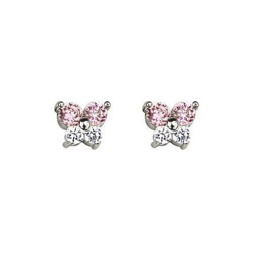 14k White Gold Plated Sterling Silver Butterfly Pink CZ Children Stud Earrings with Screw-back