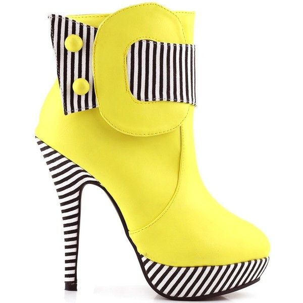 Amazon.com | Show Story Striped Button Zipper High Heel Stiletto... ($30) ❤ liked on Polyvore featuring shoes, boots, ankle booties, heels, wide ankle boots, wide width booties, platform booties, high heel ankle boots and short boots