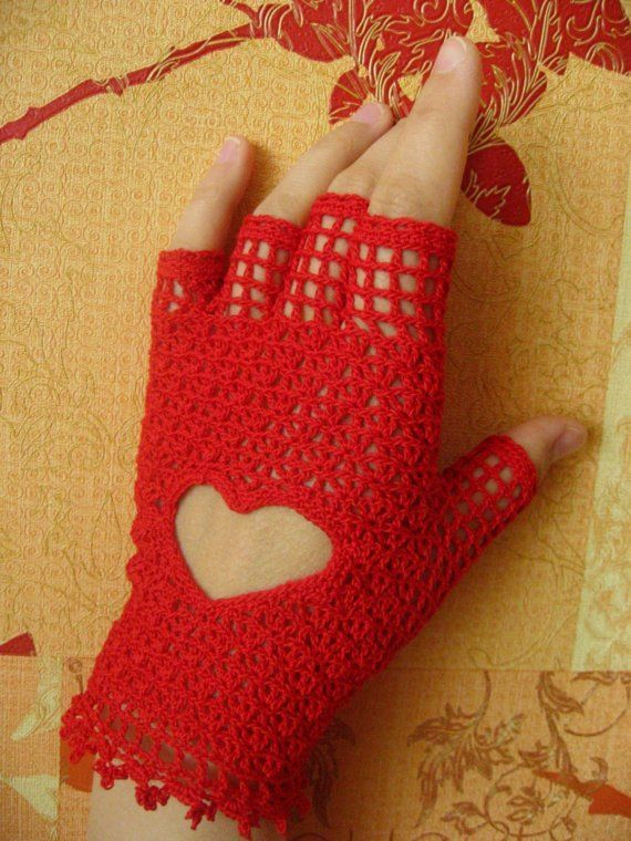 Crocheted fingerless gloves red lace cotton