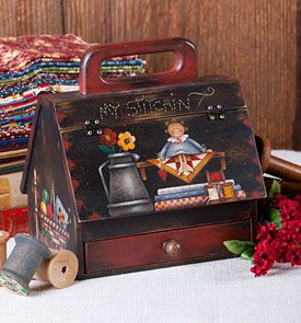 Sewing Room by Maxine Thomas from the book Country Primitives 16. Book and surface available at artistsclub.com