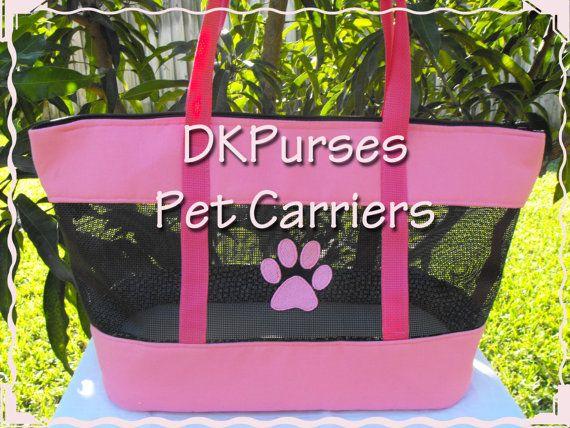 Pink & Black Pet Carrier Shoulder Style Tote With Pet par DKPurses