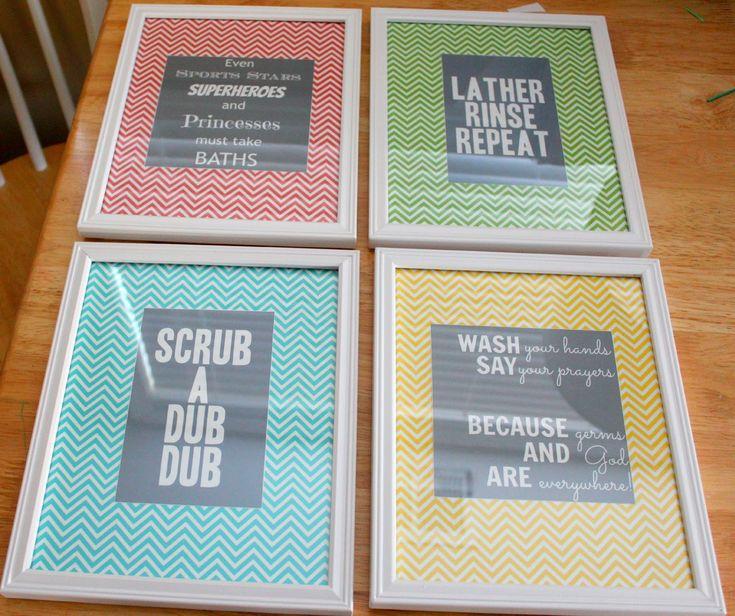 Bathroom Art FREE PRINTABLES - green & blue for the boy's bathroom