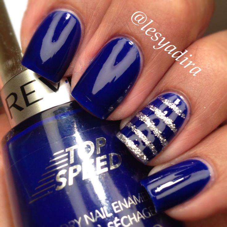 Nail Designs For Royal Blue Dress : Blue royal prom nails homecoming design