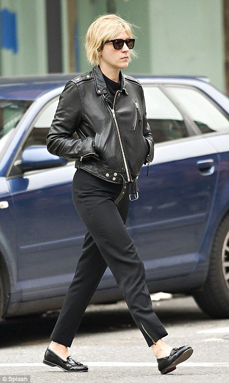 Damn the girl got style! Sevigny in black leather moto, black pants and moccasins