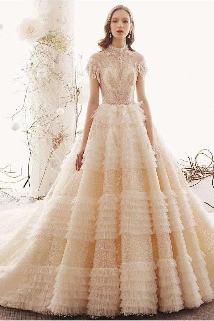 Unique High Neck Wedding Dress Princess Short Sleeves Lace Tulle