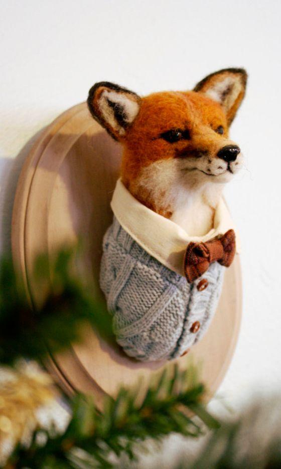 Felted fox faux taxidermy wall plaque trophy head in a natty bowtie ...cute vintage kitsch decor
