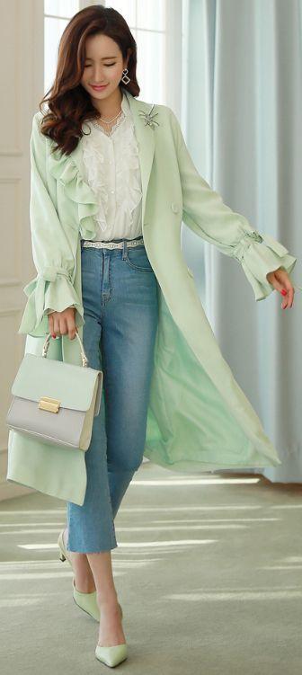 StyleOnme_Romantic Frill Collar Double-Breasted Trench Coat #mint #trenchcoat #frill #ruffle #springtrend #koreanfashion #feminine #elegant #stylish #kstyle #seoul