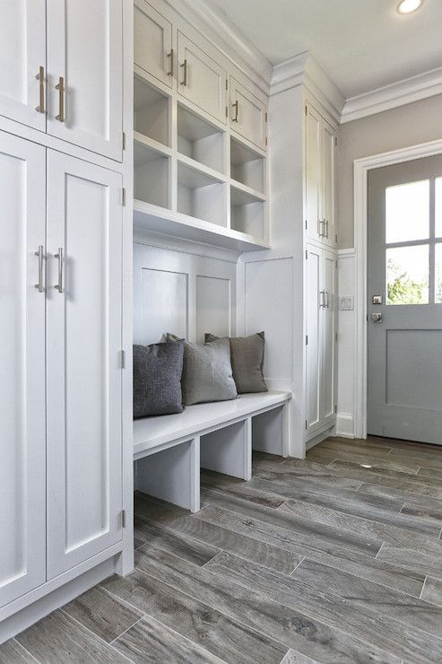 Lots of storage in this gorgeous mudroom. Practical, functional, & beautiful. Great design! #mudroom #storage