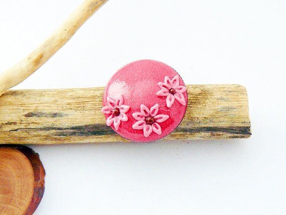 Pink ring with flower  polymer clay jewelry by spikycake on Etsy, $15.00