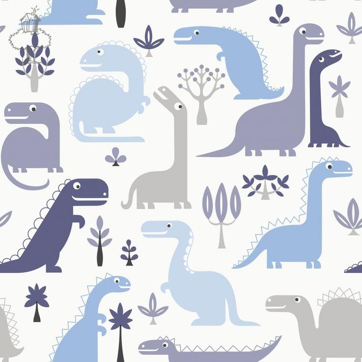 BEHANGPAPIER DINO BLAUW - Wallpaper, Papier peint, Kinderkamer decoratie | De Boomhut
