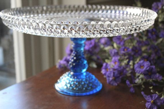 "Vintage Cake Stand 12"" Cobalt Blue Cake Stand / Wedding Glass Cake Stand / Crystal Cake Plate Cake Pedestal for Cupcakes,Truffles & Macarons"