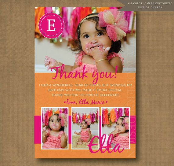 9 best First Birthday Thank You Cards images on Pinterest