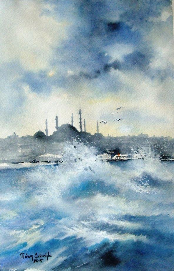 Orijinal Suluboya Resim - Mavi İstanbul Zet.com'da 540 TL