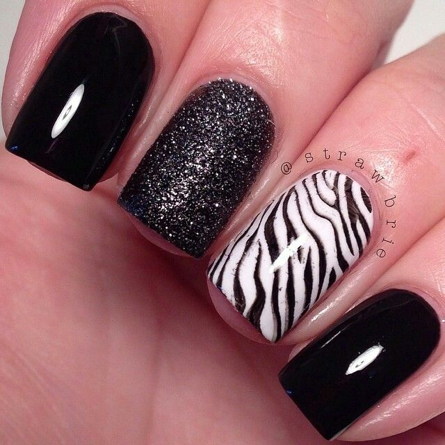 Zebra and Black Shimmer Nails