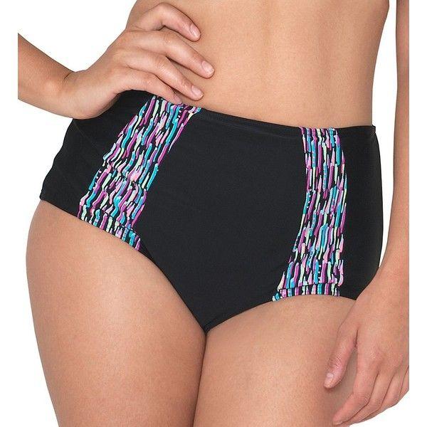 Curvy Kate CS3765 Galaxy High Waist Brief Swim Bottom ($46) ❤ liked on Polyvore featuring swimwear, bikinis, bikini bottoms, highwaisted bikini bottoms, patterned bikini, high rise bikini, curvy kate swimwear and high-waisted bikinis