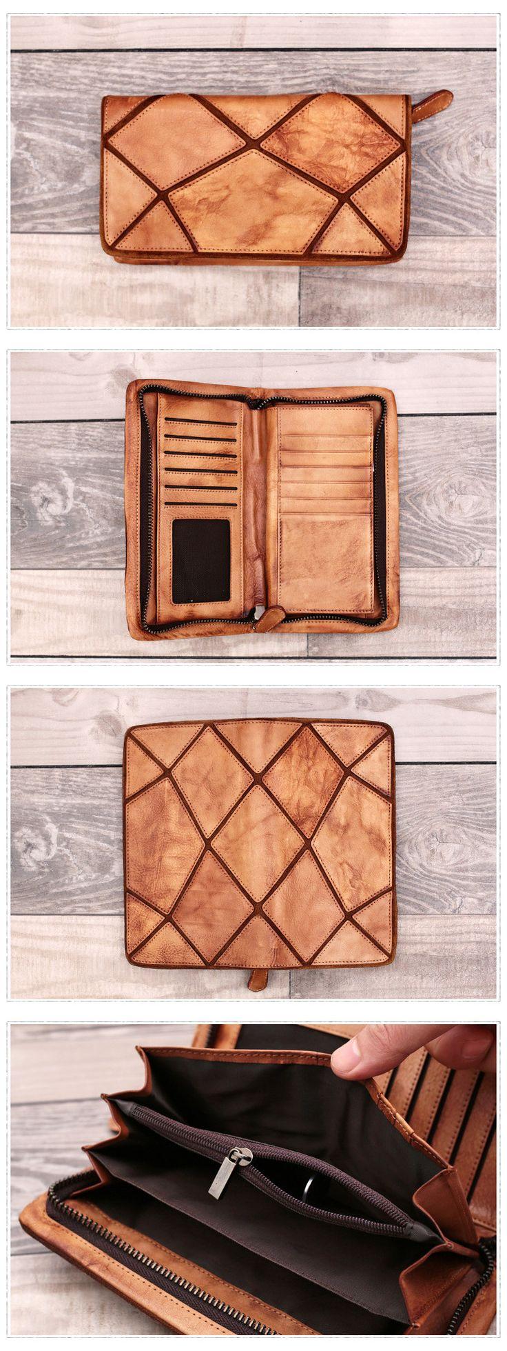 Genuine Leather Wallet Long Wallet Men Wallet Card Holder Dimensions: Length: 20 cm; Height: 11.5cm Color: Brown/Grey
