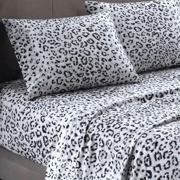 Cozy Spun Snow Leopard Print Sheet Set