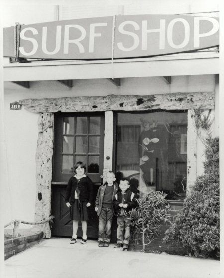 O'Neill's first surf shop at 3518 Wawona Street (here with three of the O'Neill kids), opened in 1952